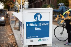Official Ballot Drop Box outside the Multnomah County Duniway-Lovejoy Elections Building