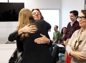 Chair Deborah Kafoury embraces a participant at the Laurelwood Center on Friday, Dec. 6, 2019.