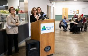 Commissioner Jessica Vega Pederson, Gov. Kate Brown and Chair Deborah Kafoury speaking at the Laurelwood Center on Friday, Dec. 6, 2019.