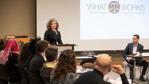 Abbey Stamp, Executive Director of the Multnomah County Local Public Safety Coordinating Council hosted Thursday's conference.
