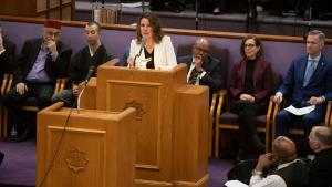 Chair Deborah Kafoury speaks at the annual MLK celebration at Vancouver Avenue First Baptist Church