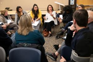 February 2020: Chair Deborah Kafoury speaks with a breakout group during a Here Together ballot measure community forum in East County