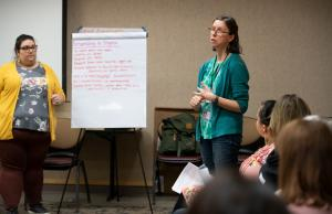 Community Partnerships coordinator Beth Poteet, right, teams up with a team of nurses to offer workshops on COVID 19.