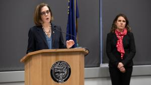 Gov. Kate Brown at a March 20 press conference asks residents to stay home this spring break to slow spread of COVID-19