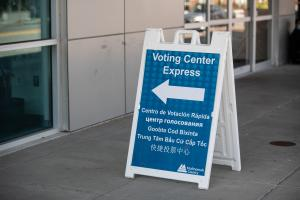 Voting Center Express Sign outside the Multnomah County East Building in six languages