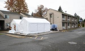 The physical distancing motel shelter at the Portland Value Inn - Barbur.