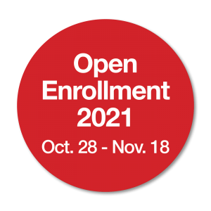 2021 Open Enrollment logo - Red Ball with Oct 28 to Nov 18 Dates