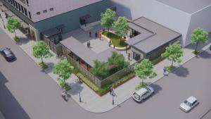 Courtyard rendering of the planned Behavioral Health Resource Center