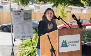 Chair Deborah Kafoury speaks during a ceremony to thank supporters of the St. Johns Village on May 21, 2021.