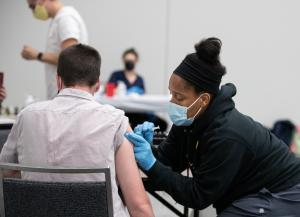 Vaccine given at a cooling center June 25.