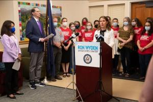 The press conference for the Lori Jackson-Nicolette Elias Domestic Violence Survivor Protection Act took place at the County's Gateway Center for Domestic Violence Services.