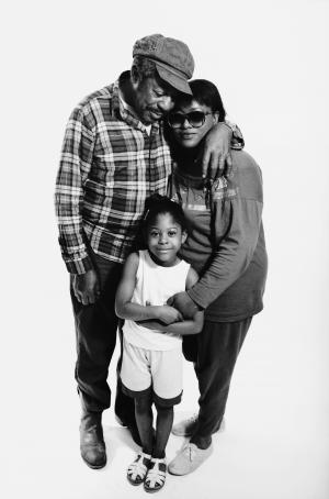 African american family standing together