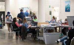Elections Workers Open Ballots during the November 2020 General Election at the Multnomah County Duniway-Lovejoy Elections Building