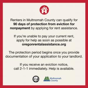 Multnomah County renter protection information graphic