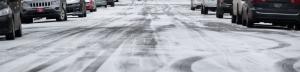 Snow covering Portland street