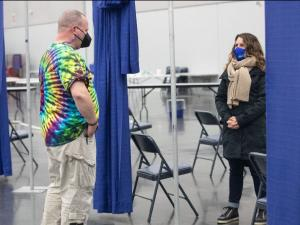 Chair Kafoury at Oregon Convention Center severe weather shelter