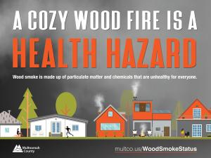 A Cozy Wood Fire is a Health Hazard Poster (English)