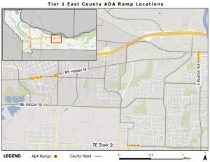 """A map labeled """"Tier 1 East County ADA Ramp Locations"""", showing where new ramps will be installed along SE Stark, NE Glisan, NE Halsey and S Buxton."""