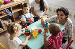 Preschool Teacher Building Blocks