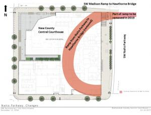 Plan view of courthouse and section of closed ramp to be removed.