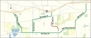 Alternate routes during 238th Drive closure.