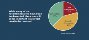 Pie chart that shows Animal Services has completed 37% of recommendations and partially completed 42%.