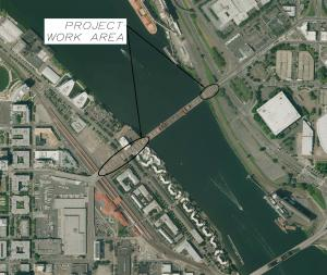 Aerial photo shows the three Broadway Bridge spans that will be repainted in 2015 - 2016.