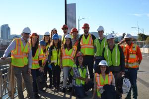 PSU architecture students toured the Burnside Bridge before developing new bridge concepts.