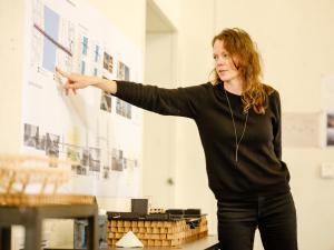 PSU architecture student Danette Papke explains her concept for an earthquake-ready Burnside Bridge.