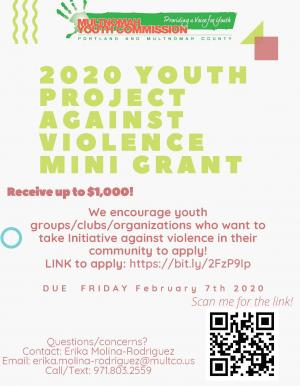 Flyer featuring information: Grants available for youth-led project against violence