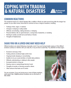 Image of Coping with Trauma & Natural Disasters handout