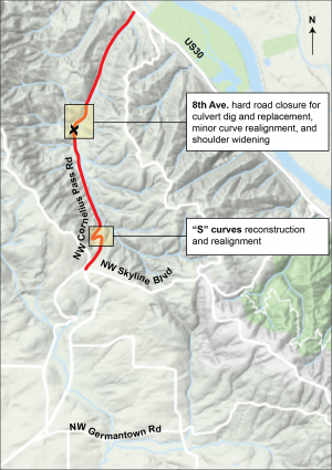 Map graphic showing road closure described in text.