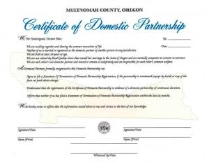 County Domestic Partnership Certificate