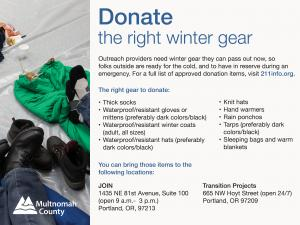 How and where to help donate at a shelter during severe weather in Multnomah County