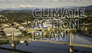 Climate Action Plan 2015 Cover Page Tillikum Crossing over Willamette River Portland