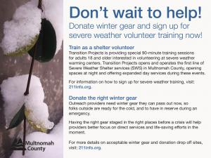 How and where to help donate or volunteer at a shelter during severe weather in Multnomah County