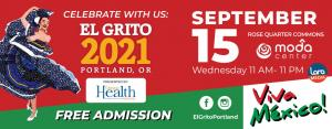An red-colored invitation to El Grito on Sept. 15 at the Rose Quarter with a dancer on the left