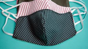 three home made cloth face coverings