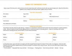 Image of Family Pet Emergency Plan