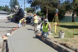 Finishing sidewalk on 238th Dr. near Treehill entrance, 6-2-2021.