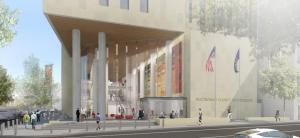 Architectural rendering of central courthouse at Southwest 1st and Madison entrance