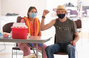 Person getting a COVID-19 vaccine at a Multnomah County Vaccine Clinic
