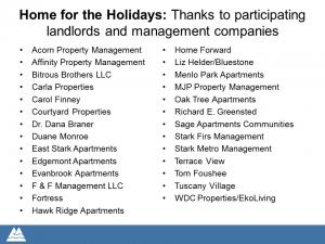Landlords and property companies that have participated in Home for the Holidays.