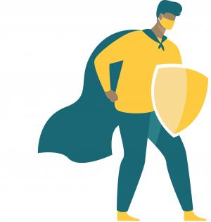 superhero with a cape and a shield representing the protection of a vaccine