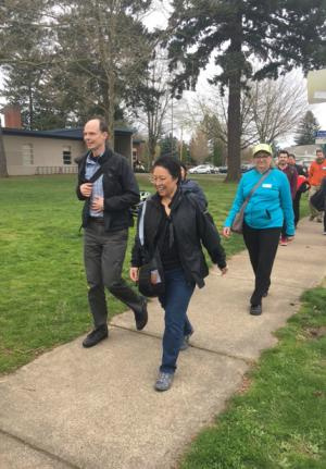 Commissioner Lori Stegmann participates in an East Multnomah County walking tour to highlight pedestrian safety and access issues.