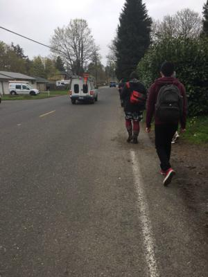 A policy walking tour hosted by the Rosewood Initiative and Street Trust highlighted streets with no sidewalks used by children and families near Parklane Elementary School in the Centennial School District.