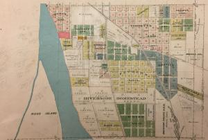 1891 section map of Portland. It shows Section 11, an area on the east side of the Willamette River, south from Division Street to Colgate Street, which was the southern boundary of Portland at that time.