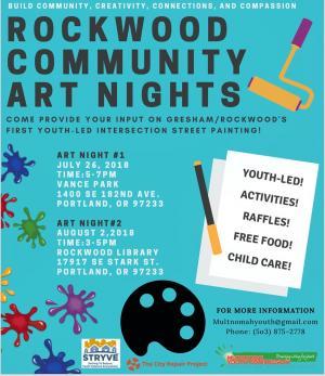 Rockwood Community Art Nights Flyer
