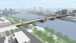 Rendering of a bridge with a single arch on the east side of the river.