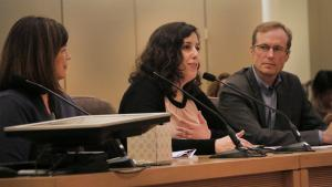 From left: Shannon Callahan, policy director for city Commissioner Saltzman; Multnomah County Chief Operating Officer Marissa Madrigal and Joint Office of Homeless Services Interim Director Marc Jolin